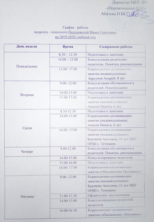 График работы педагога-психолога